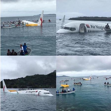Plane overshoots runway, lands in the ocean