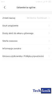 Xiaomi Mi Electric Toothbrush ustawienia ogólne w aplikacji Mi Home