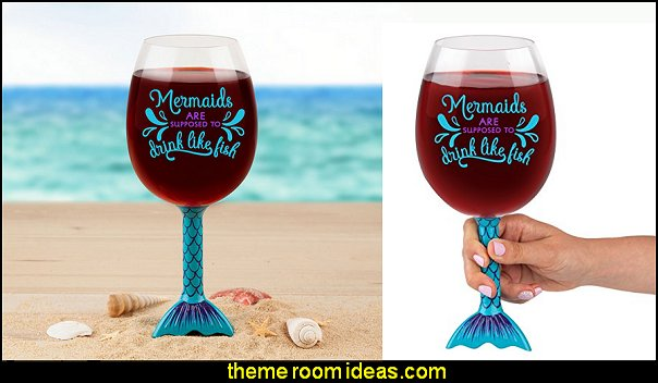 BigMouth Inc. Mermaid Tail XL Wine Glass   coastal kitchen decor - beach house kitchen - Coastal kitchen & dining - coastal Christmas kitchen decorations - Cottage Holiday decor - octopus seafood fish shaped kitchen decor - nautical kitchen accessories - Sea Shells cutlery coastal cottage dinnerware