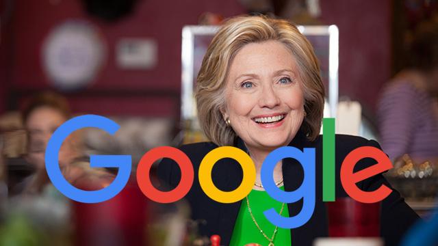 Aqui estão exemplos de que o Google Search favorece Hillary