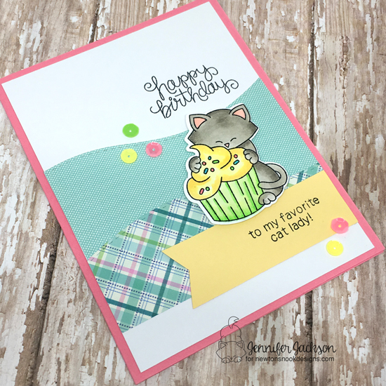 Cat and Cupcake Birthday Card by Jennifer Jackson | Newton Loves Cake Stamp Set by Newton's Nook Designs #newtonsnook