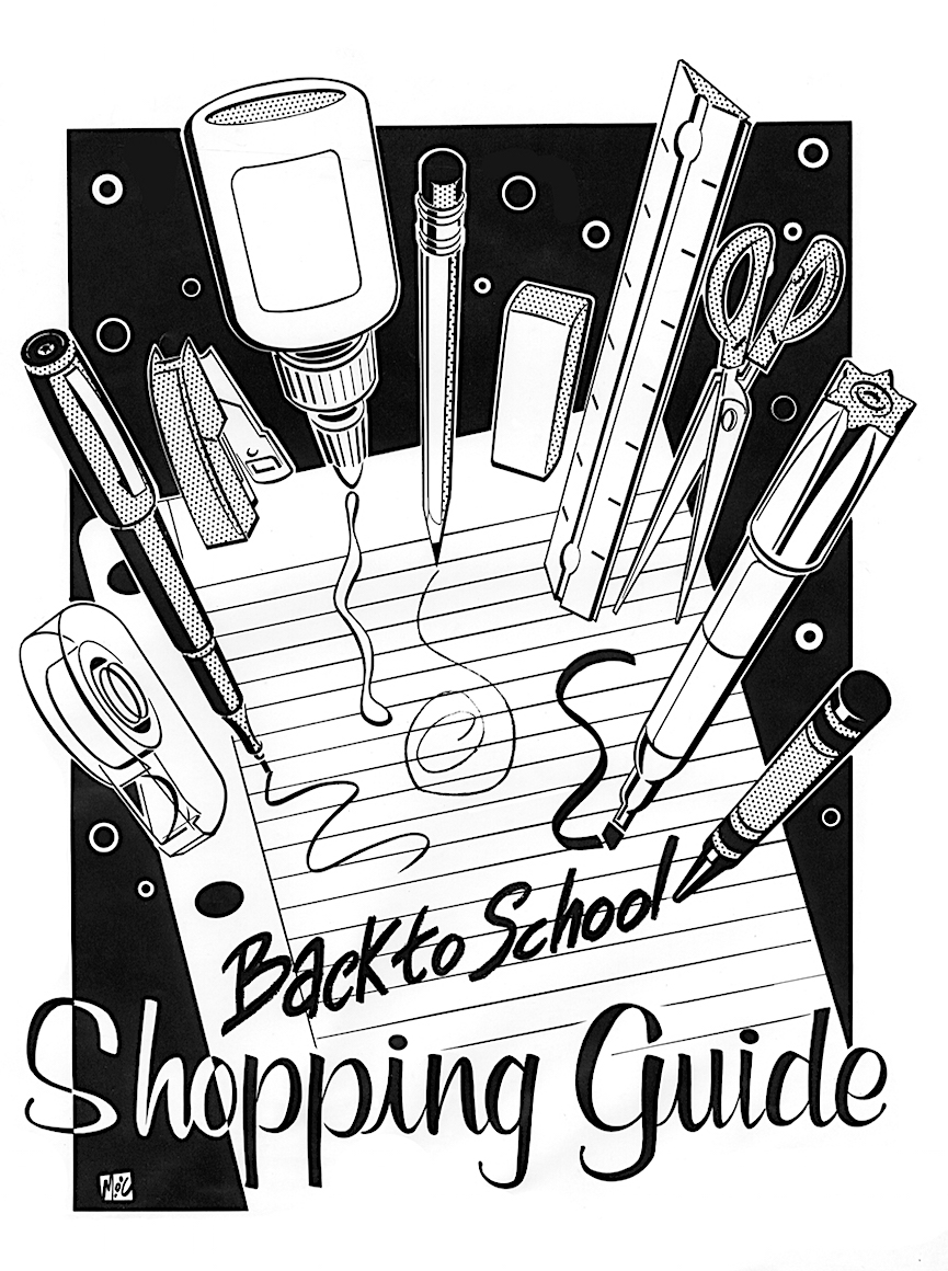 "Mitch O'Connell illustration of a ""Back to School Shopping Guide"""