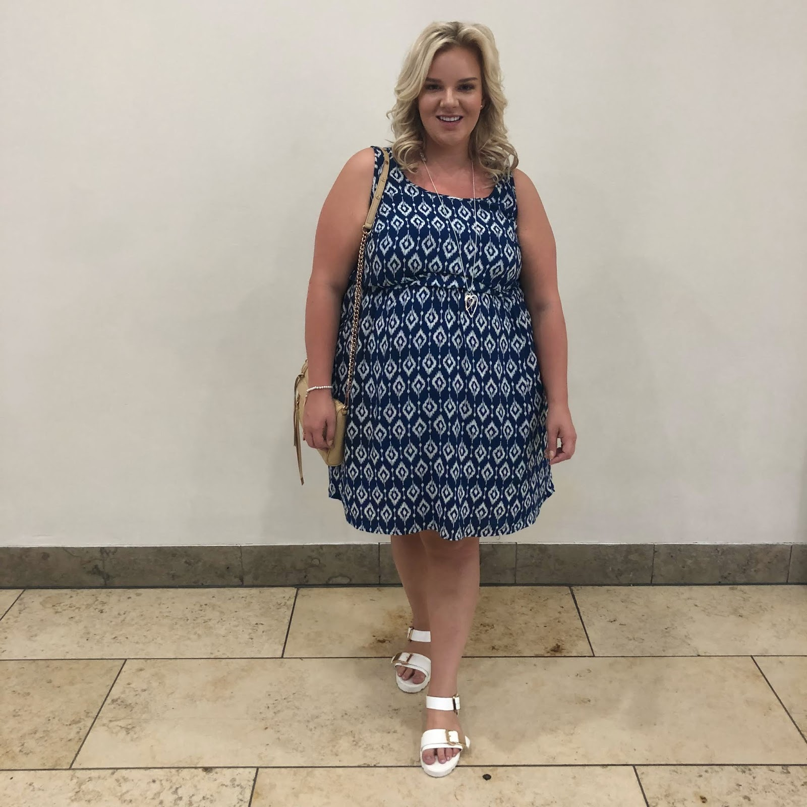 Yours Clothing Navy and White Plus Size Dress on WhatLauraLoves UK Blogger