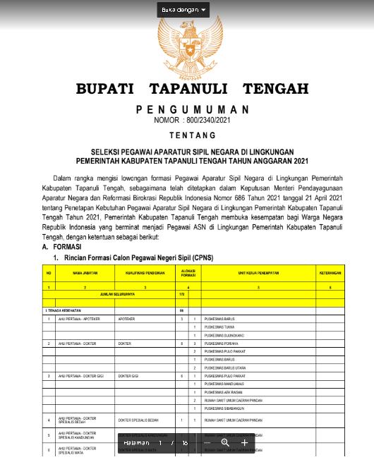 Lowongan Kerja CPNS Pemerintah Kabupaten Tapanuli Tengah Tahun Anggaran 2021