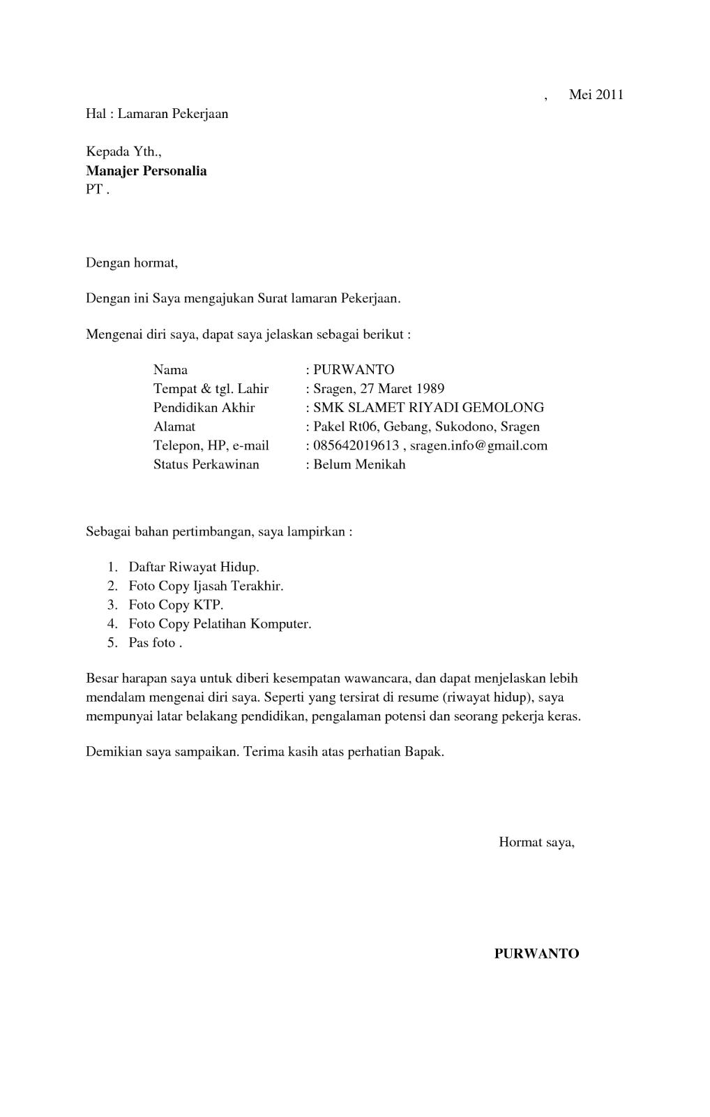 Contoh Surat Lamaran Kerja Di Pabrik Garment Bagi Contoh Surat