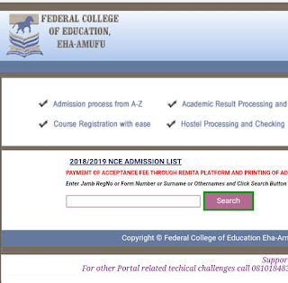 FCE Eha-Amufu Admission List