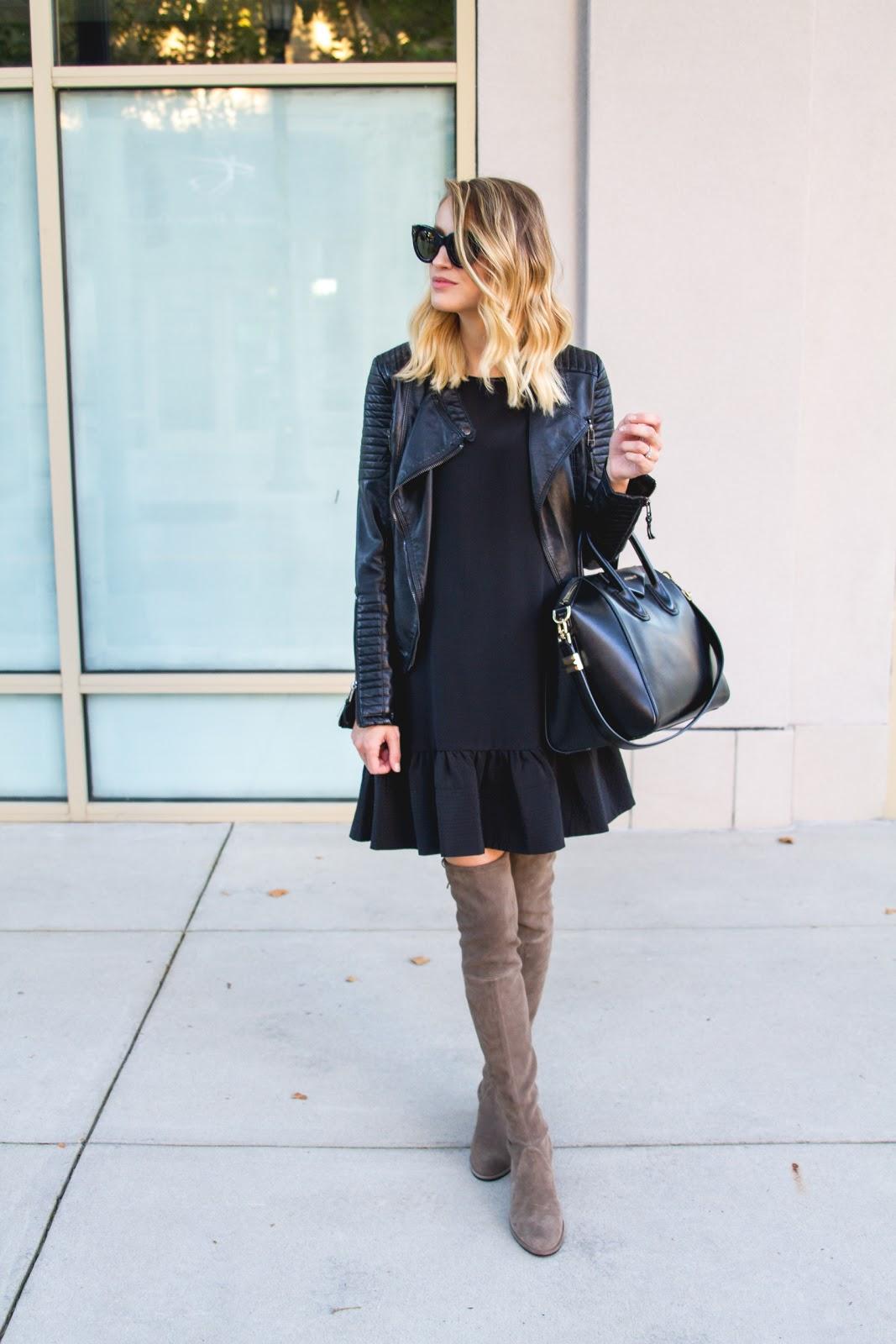 Drop Waist Dress Amp Leather Moto Jacket Little Blonde