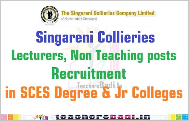 Singareni Collieries,Lecturers,Non Teaching posts,Colleges 2016