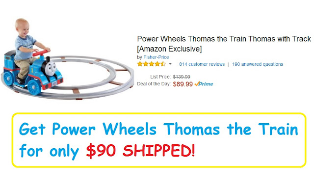 Amazon has the Power Wheels Thomas the Train Thomas with Track on sale for only $89.99 (with FREE S&H) which has an almost perfect 4.5 star rating from over 800 consumer reviews.