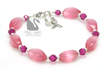 Pop of Pink Breast Cancer Awareness Ribbon Bracelet (BA220)