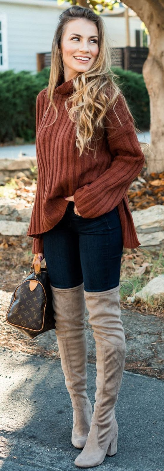 trendy fall outfit idea : sweater + bag + jeans + over the knee boots