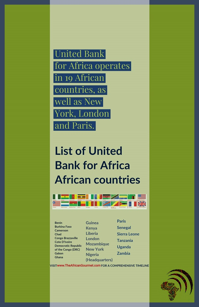 United Bank for Africa operates in 19 African countries, as well as New York, London and Paris.