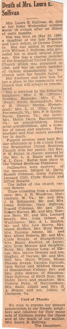 Obituary Laura Jollett Sullivan The Page News & Courier edition of 7 August 1947 page 8 column 1  https://jollettetc.blogspot.com