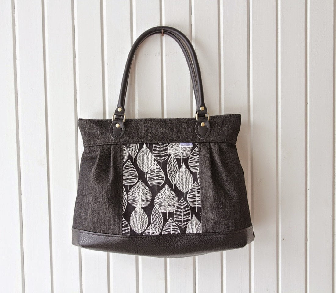 1894a3f219b0 Large Pleated Zippered Shoulder Bag in Black Denim with Organic Leaf Line  Canvas in Black and White