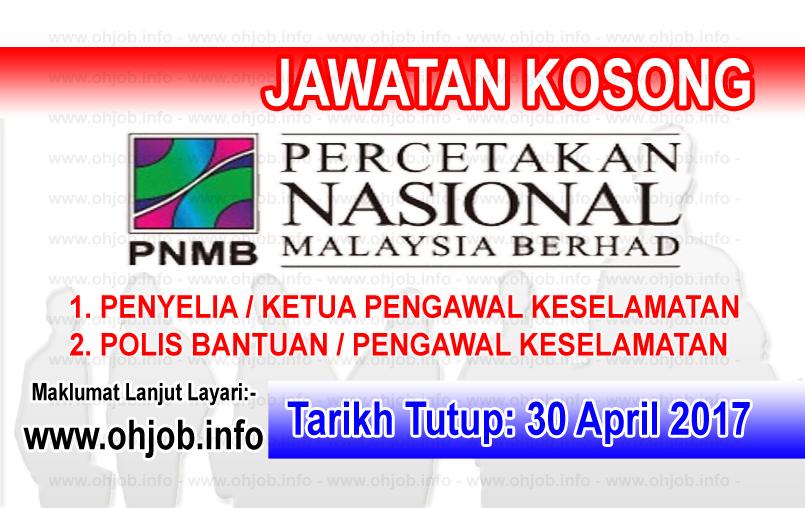 Jawatan Kerja Kosong PNMB - Percetakan Nasional Malaysia Berhad logo www.ohjob.info april 2017
