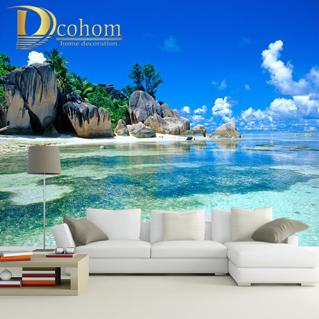 Beach Ocean Wall Murals Landscape Tropical Wallpaper Bedroom Livingroom