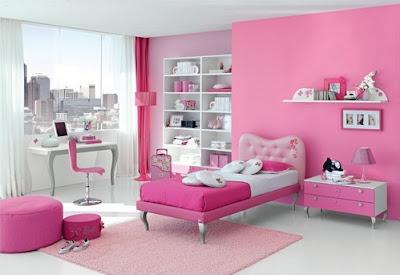 Contoh kamar tidur warna pink
