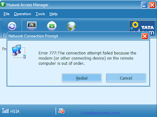 Error 777: The Connection attempt failed because the modem on the remote computer is out of order