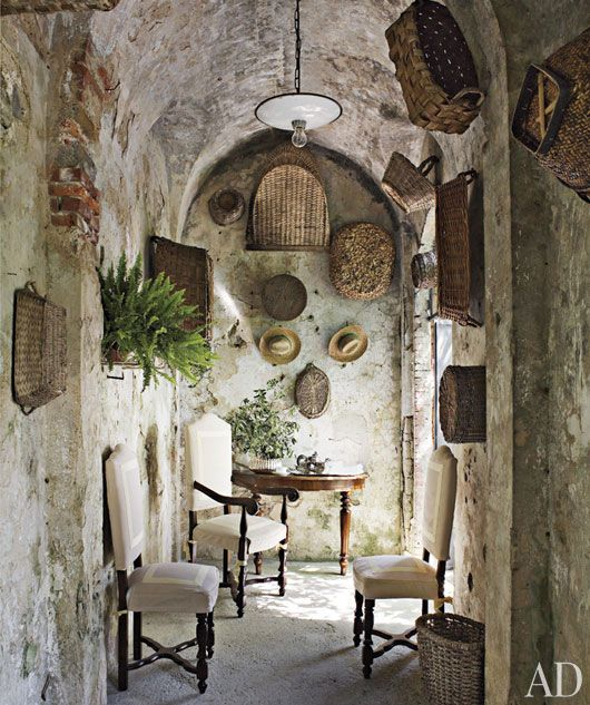 Breathtaking Rustic Frenchfarmhouse Hallway With Weathered Stone Walls Baskets And Industrial Pendant Light Pin This Image On Pinterest French Farmhouse