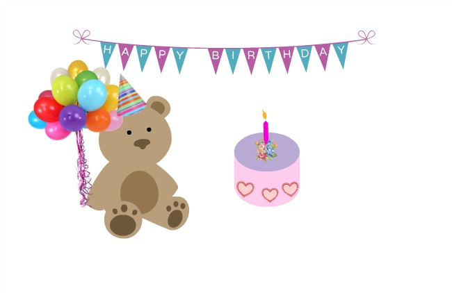 Happy-birthday-to-my-blog-Cartoon-of-teddybear-holding-balloons-with-cake-and-bunting