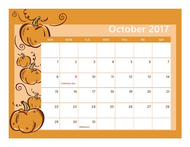 Free Halloween calendar templates