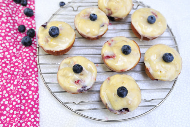 Berry Cheese Muffins with Lemon Glaze by Haniela's
