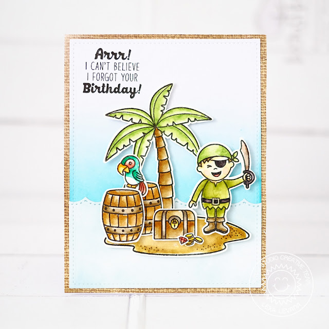 Sunny Studio Stamps: Pirate Pals Boy Themed Birthday Card by Lexa Levana