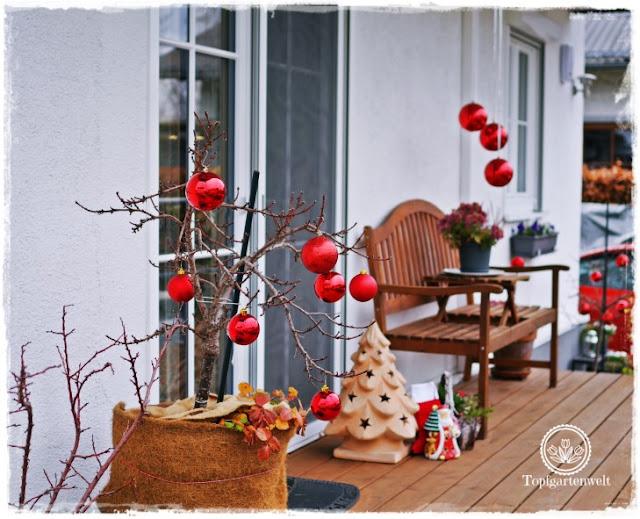 Gartenblog Topfgartenwelt festliche Weihnachtsdekoration in Rot und Weiß + Rezept Flammkuchen: Terrasse mit roten Kugeln auf Obstbäumen