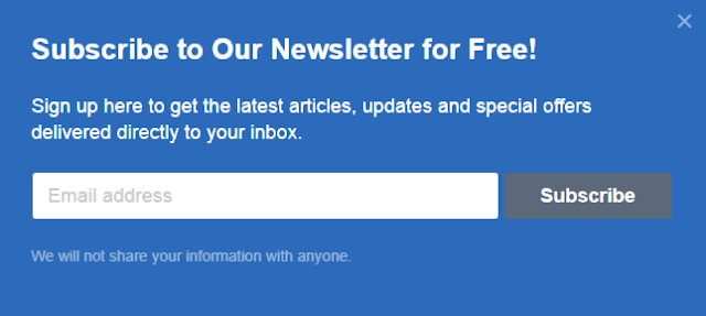 Pop up email subscription widget for blogger