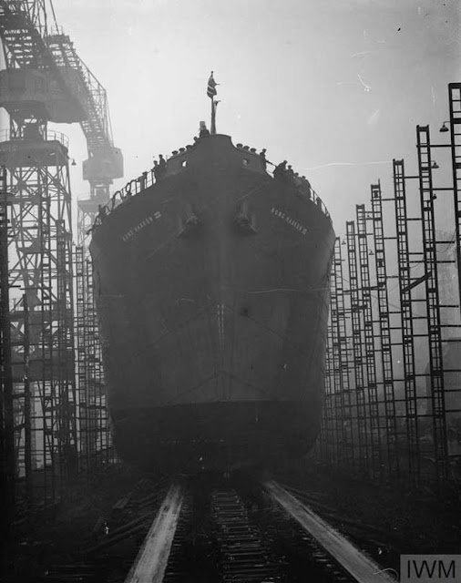 SS King Haakon being launched in Glasgow, 19 December 1941 worldwartwo.filminspector.com