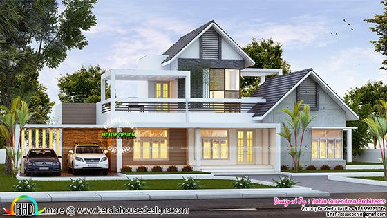 Contemporary mix sloping roof home 2400 sq-ft
