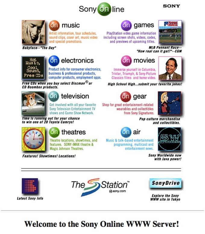 sony website 1996