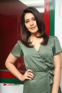 Actress Raashi Khanna Stills in Green Short Dress at Mirchi 95 Suno Aur Mercedes Jeeto Contest  0093.JPG