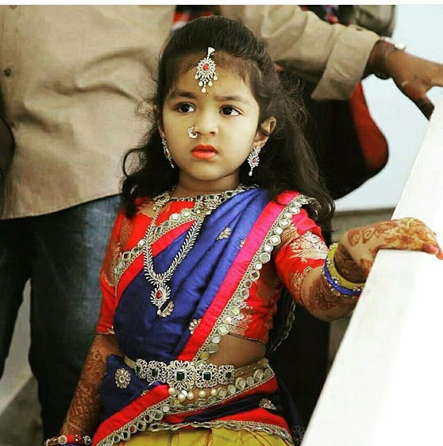 Gorgeous Kid in Diamond Vaddanam Necklace