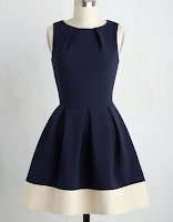 Prom Dress the Night ModCloth Luck Be a Lady Dress in Navy Contrast