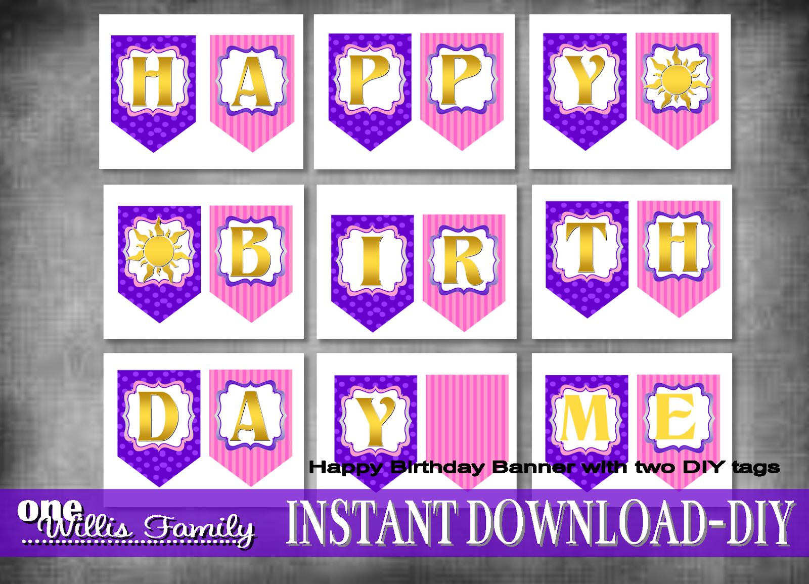 Rapunzel Tangled Birthday banner