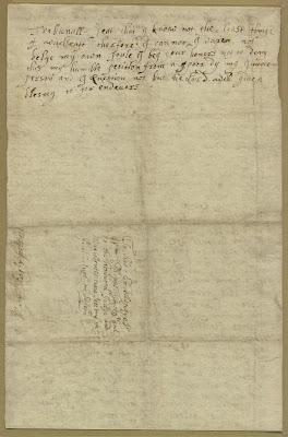 Climbing My Family Tree: Mary Easty's Post-conviction Petition, 1692,  back