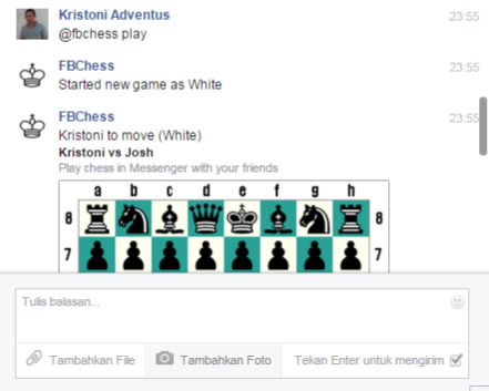 Mengaktifkan Permainan Catur pada Facebook Messenger - Play