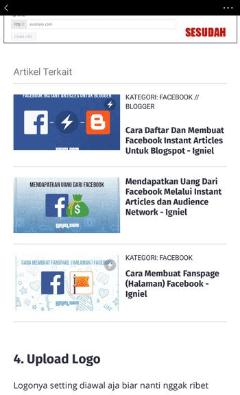 Cara Memasang Artikel Terkait Di Dalam Facebook Instant Articles
