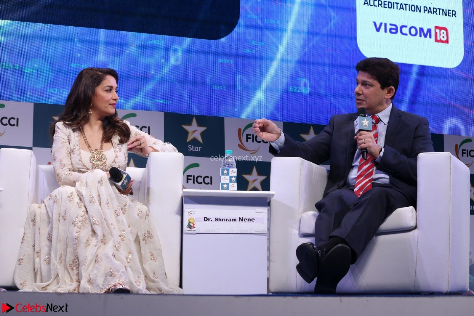 Madhuri Dixit Nene Looks Gorgeous with her husband Sriram Madhav Nene At FICCI FRAMES 2017 23rd March 2017