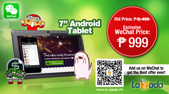 "Lazada, WeChat offer 7"" Android Tablet for only Php999"