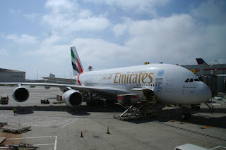 Emirates Airbus A380 on the ramp at Los Angeles International (LAX)