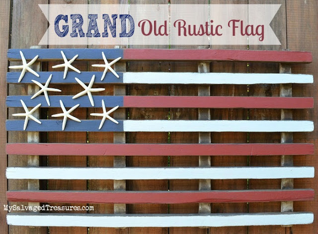 rustic flag with starfish