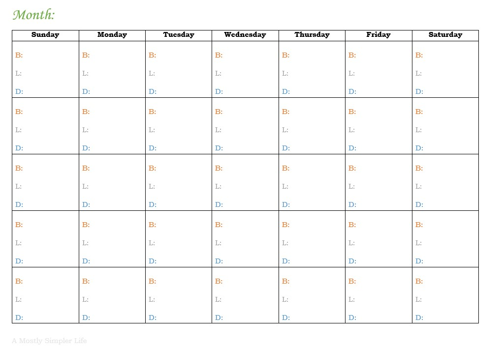 i use the printable above to plan meals for the month download to receive a free copy then i use the printable to the right to write out my grocery list
