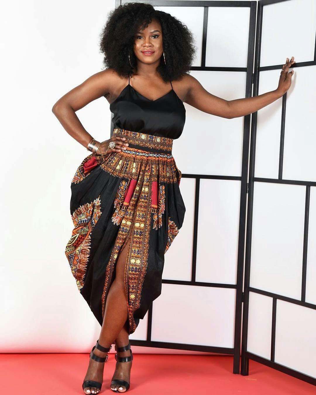 Dressing des 4 Saisons Zuvaa African style Dashiki Jupe noir sarouel Concours