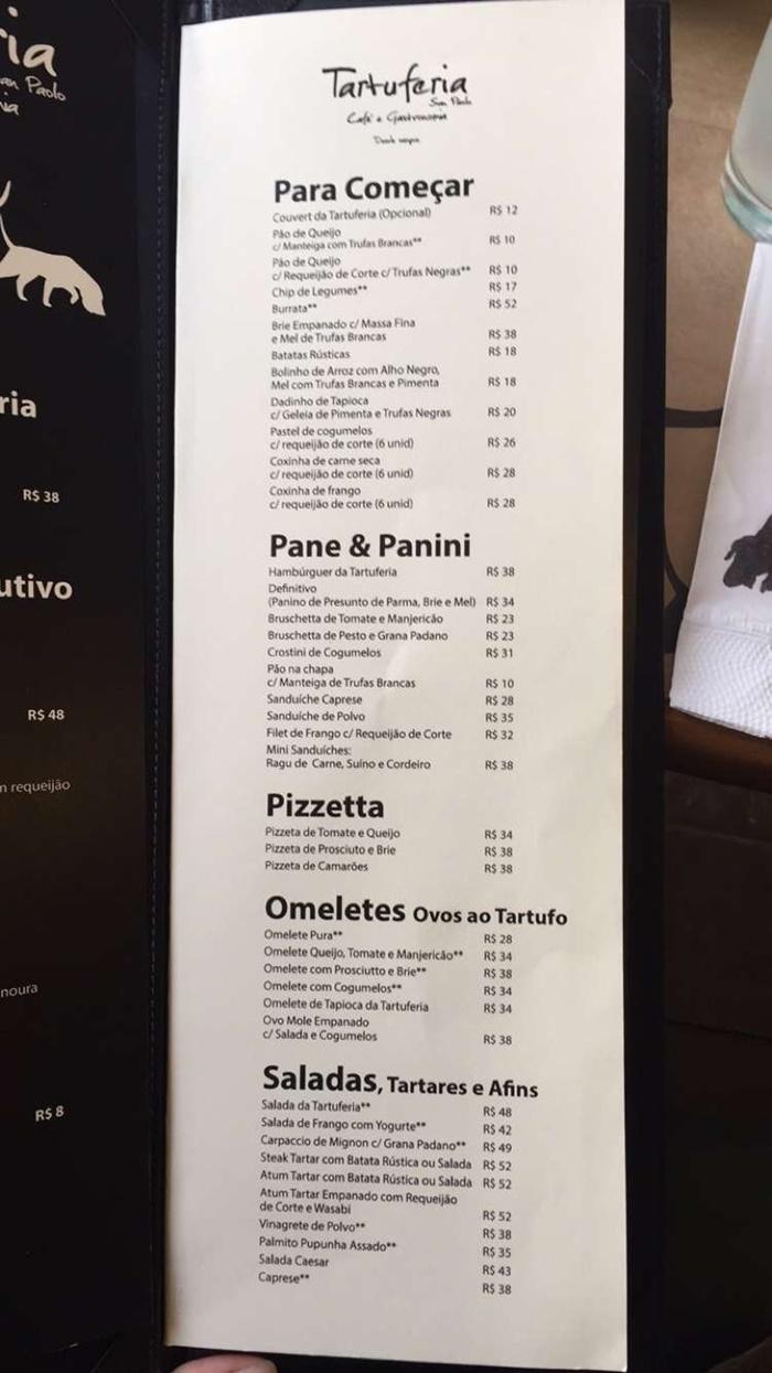 cardapio tartuferia san paolo com preços