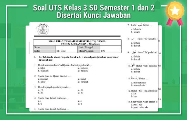 Soal UTS Kelas 3 SD Semester 1 dan 2 Disertai Kunci Jawaban