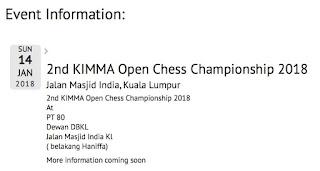 2nd KIMMA Open Chess Championship 2018 – 14 Jan 2018