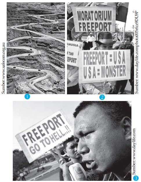 Keadaan pertambangan emas di Freeport, Papua (Gambar 1). Sementara Gambar 2 dan Gambar 3 menunjukkan adanya protes warga terhadap kehadiran perusahaan milik Amerika Serikat tersebut. Ini menunjukkan adanya dampak yang kurang baik dari kerja sama internasional di biadng ekonomi.