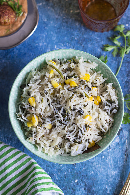 OPOS Corn Spinach Pilaf | Corn Palak Pulao Recipe [Video Recipe]